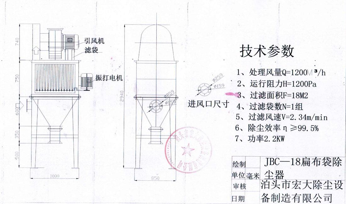 JBC单机除尘器的分类: JBC单机除尘器分为A型和B型,A型为带灰斗和卸灰器,B型不带卸灰器,而灰斗既是卸灰器,又是吸尘器。A、B型又按安装方式分为I、II形式,I型为通风机布置在除尘器箱体上方,II型为通风机布置在箱体的侧面。 JBC单机除尘器工作原理: JBC单机除尘器由箱体、通风机、控制设备、扁滤袋等组成,JBC单机除尘器具有结构简单紧凑、体积小、维修方便、振动小,噪声小、效率高、布置方便等特点。其B型扁袋除尘器可以直接安装在扬尘点上(如带式输送机的导料槽、转运站及料仓上),省去了连接风管,并省去